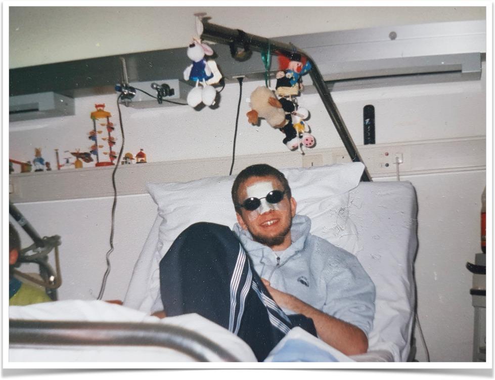 Jürgen nach dem Unfall.